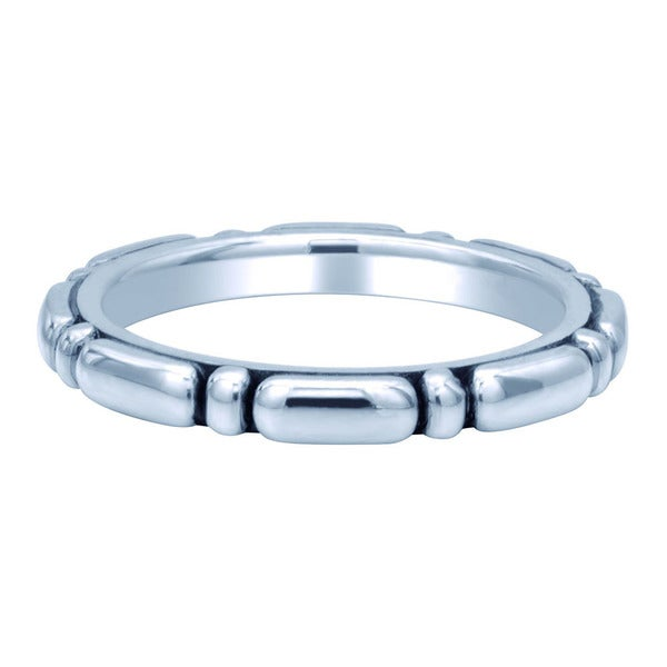 Sterling Silver Carved Ovals Antiqued Stackable Ring