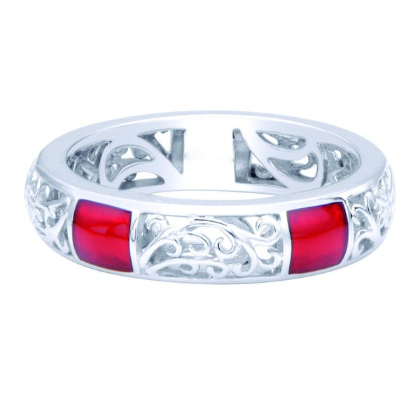 Sterling Silver Red Enamel Stackable Filigree Ring