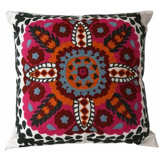 Monroe Mediterranean Embroidered Feather and Down Filled Throw Pillow