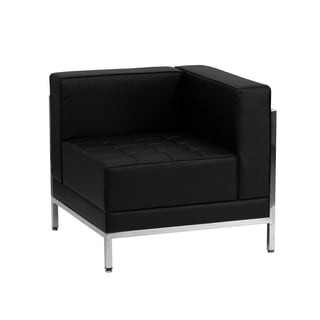 Offex Leather Contemporary Black Right Corner Chair
