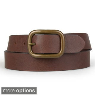 Calvin Klein Men's Genuine Leather Antique Buckle Belt