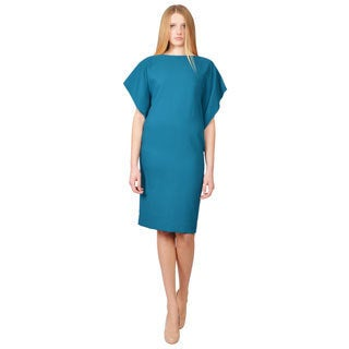 Rene Ruiz Teal Crepe Boat Neck Draped Back Sheath Cocktail Evening Dress