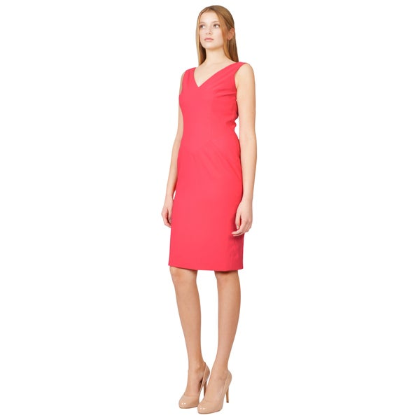 Rene Ruiz Tailored Hot Pink V-neck Sleeveless Sheath Cocktail Evening Dress