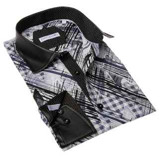 Brio Men's Black and Blue Print Dress Shirt with Faux Leather Detailing