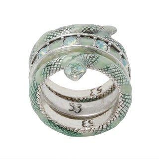 Silvertone Green Enamel and Crystal 3-piece Snake Ring Set