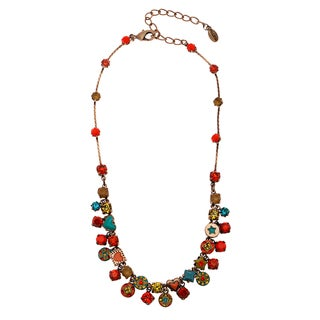 Antiqued Bronze-tone Multi-color Enamel and Crystal Charm Necklace