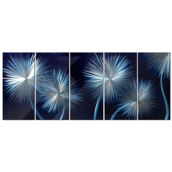 Dandelion Metal Wall Decor : Dandelions on blue metal wall art  overstock