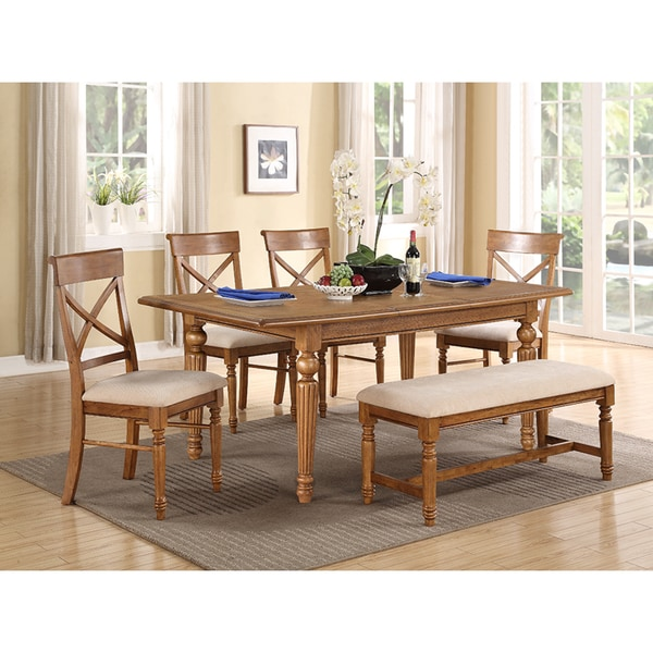 A La Carte Brown Pine 6-piece Dinette Set