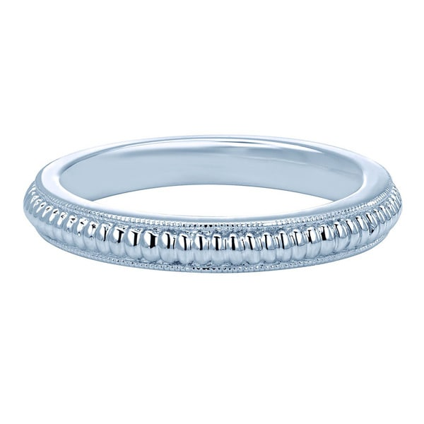 Sterling Silver Carved Ridge Stackable Ring