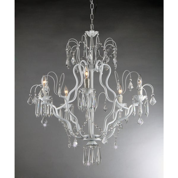 Miracle 5-light White Crystal Chandelier