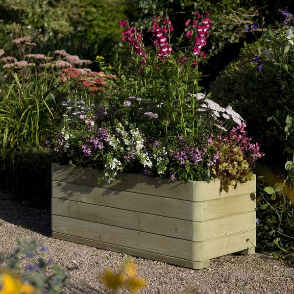 English Garden Wooden Rectangular White Planter
