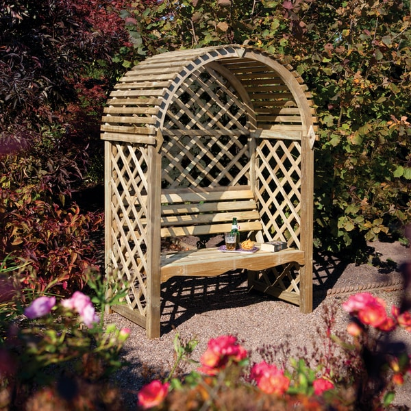 English Garden Wood Seated Arbor