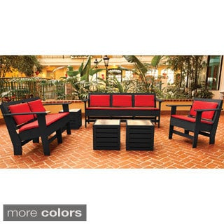 Eagle One Commercial-grade Greenwood Berlin Black 6-piece Lounge Set with Sunbrella Cushions