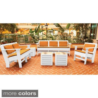 Eagle One Commercial-grade Greenwood Berlin White 6-piece Lounge Set with Sunbrella Cushions