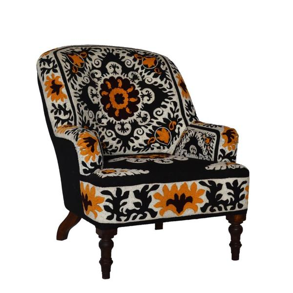 Ellie Cotton Embroidered Armchair