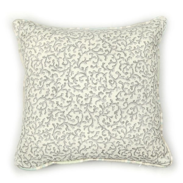 Coral Cotton Square Accent Pillow