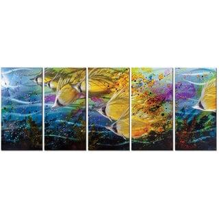 Metal Artscape 'Golden Jetstream' 5-panel Metal Wall Art