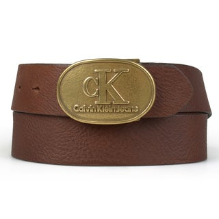 Calvin Klein Men's Genuine Leather Antique Buckle Belt