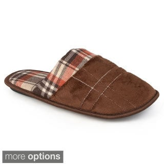 Vance Co. Men's Plaid Backless Fleece Slippers