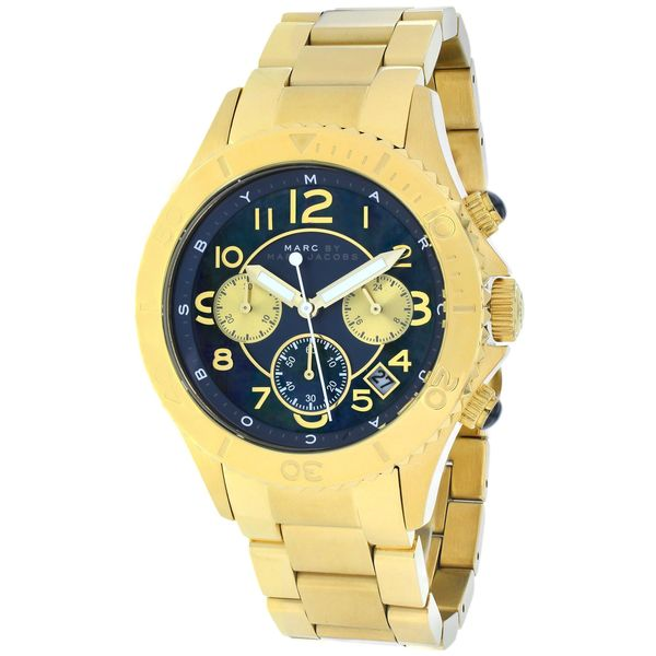 Marc Jacobs Women's MBM3252 Rock Round Gold-Plated Bracelet Watch