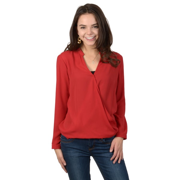 Hailey Jeans Co. Junior's Long Sleeve V-neck Cross-over Front Blouse