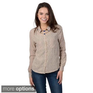 Hailey Jeans Co. Junior's Long Sleeve Button-up Blouse