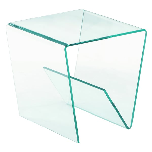 Somette Square Bent Clear Glass Lamp Table