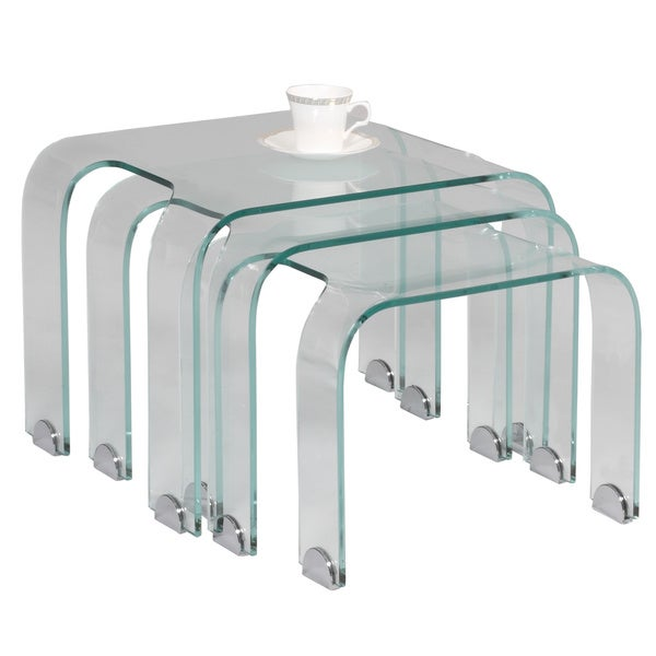 Somette Nested Bent Glass cocktail table (Set of 3)