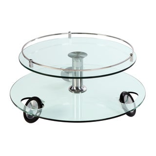 Somette Swivel Top Stationary Wheels Cocktail Table