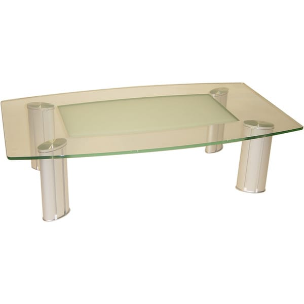 Somette Tina Boat Shape Glass Cocktail Table with Frosted Center