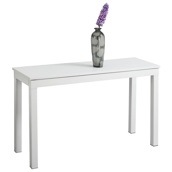 Somette Modern White Extension Sofa Table with Butterfly Leaves
