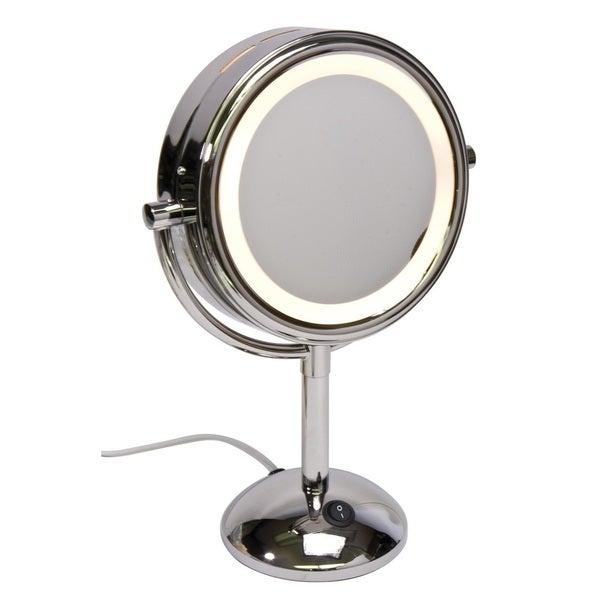 Harry D Koenig 8-inch Round Lighted Vanity Mirror