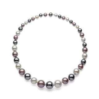 Sterling Silver Multi-colored Graduated Shell Pearl Necklace