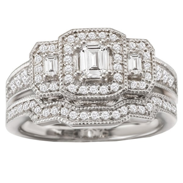 Avanti 14k White Gold 8/9ct TDW Triple Halo Diamond Bridal Ring Set (G-H, SI1-SI2)