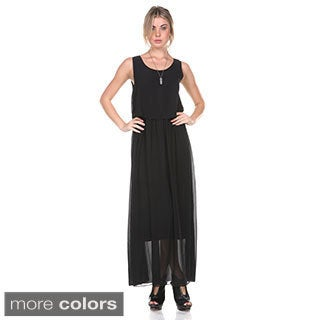 Stanzino Women's Chiffon Bohemian Sleeveless Maxi Dress