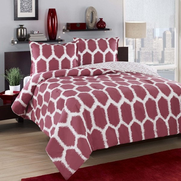 City Loft Honeycomb Red Reversible 3-piece Duvet Cover Set