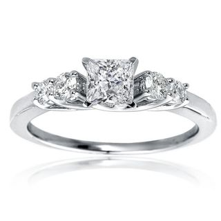 14k White Gold 1 1/10ct TDW Princess 5 Stone Diamond Engagement Ring
