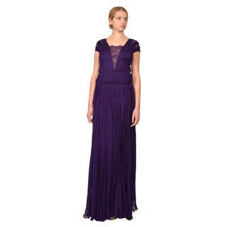 Tadashi Shoji Purple Silk Chiffon Ruched Illusion Neckline Evening Gown Dress