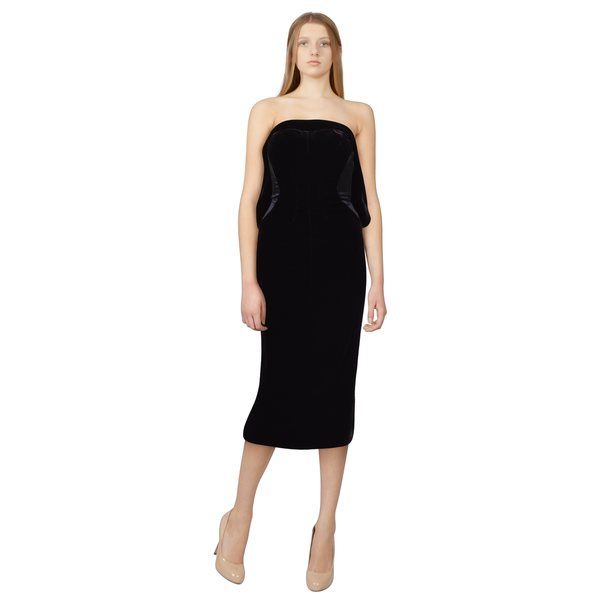 Tom Ford Deep Plum Draped Velvet Bow Contrast Cocktail Evening Dress