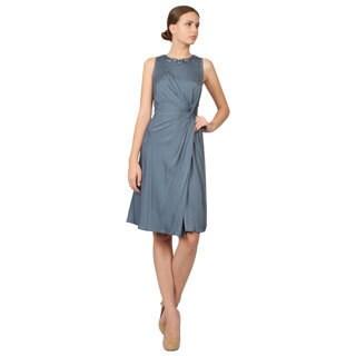 Giorgio Armani Collezioni Blue Silk Embellished Collar Cocktail Evening Dress