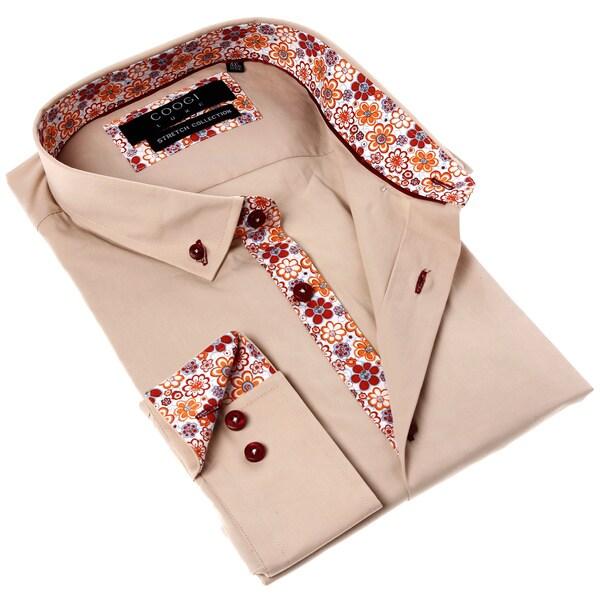 Coogi Luxe Men's Dark Beige Button Down Dress Shirt