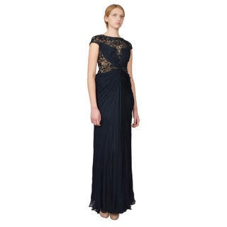 Tadashi Shoji Blue Illusion Lace Draped Silk Beaded Evening Gown Dress