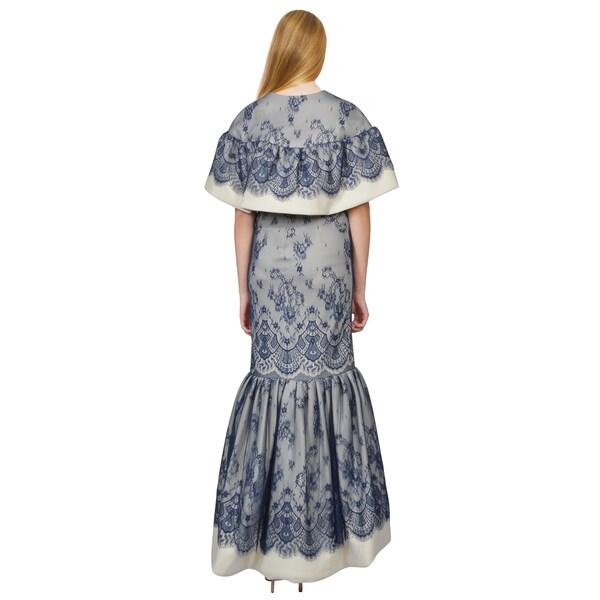 Tadashi Shoji Navy Lace Overlay Snow White Capelet Strapless Evening Gown Dress