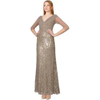 Tadashi Shoji Sand Sequin Lace 3/4 Sleeve Pintuck V-neck Evening Gown Dress