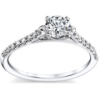 French Pave 14k White Gold 3/8ct TDW Round Diamond Engagement Ring