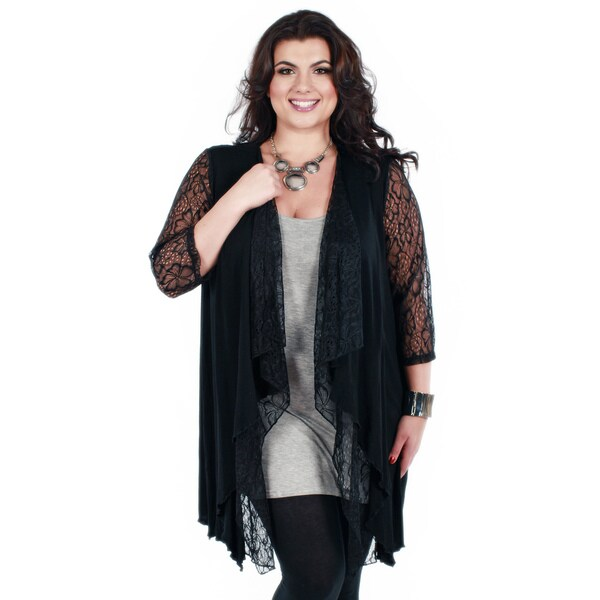Firmiana Women's Plus Size Black 3/4-sleeve Lace Cardigan