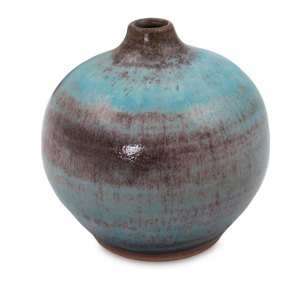 Turquoise Realm Mid Century Asian Style Turquoise Blue with Brown Undertones Suitable for Flowers Ceramic Bud Vase (Thailand) 14633226