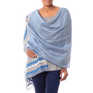 Handcrafted Cotton Silk 'Zigzag Blue' Shawl (India)