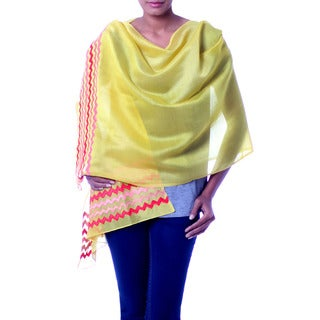 Handcrafted Cotton Silk 'Zigzag Yellow' Shawl (India)