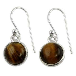 Handcrafted Sterling Silver 'Lucky Hunch' Tiger's Eye Earrings (India)